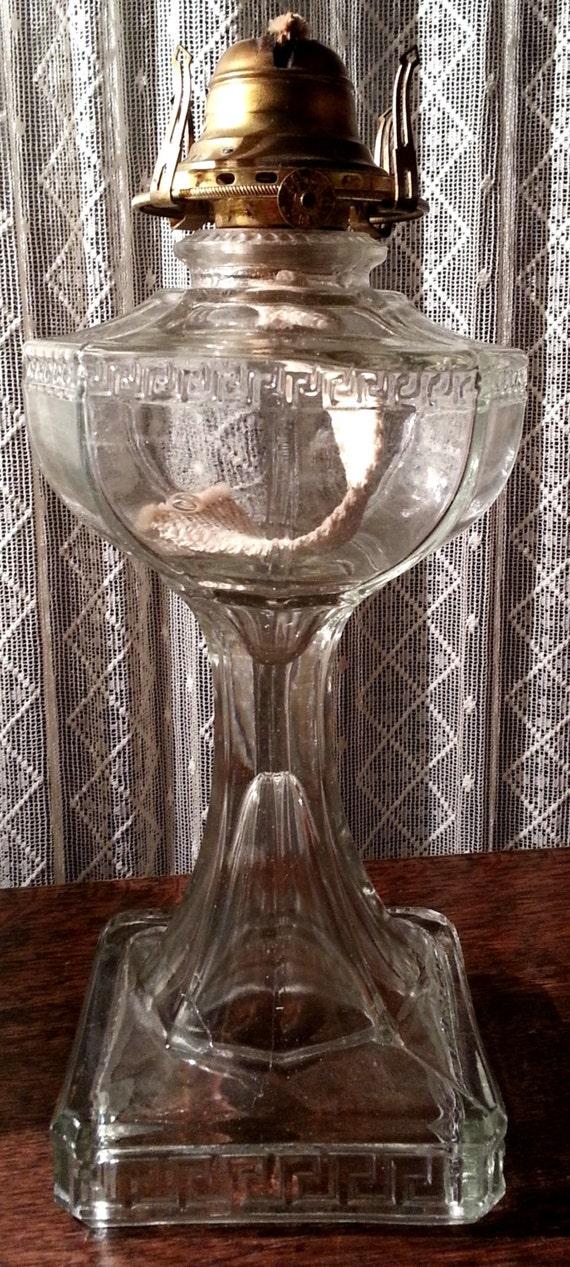 Eapg Glass Greek Key Pattern Oil Lamp Base Kerosene Crystal