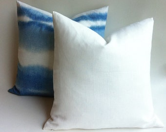 One White European Linen Decorative Zipper Pillow Cover White Linen Cushion Cover: 12 Sizes Available-MWAJ