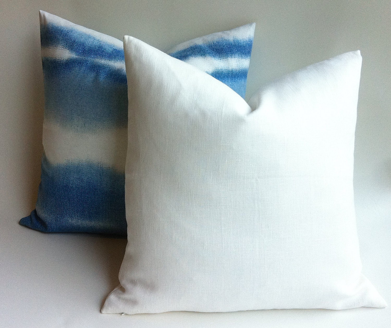 One White European Linen Decorative Zipper Pillow Cover White