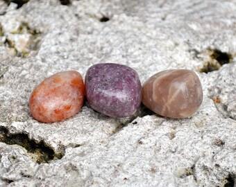 LIBRA Set 3 Crystals | Sunstone, Moonstone, Lepidolite | Tumbled Gemstones | Astrology Zodiac Meditation Yoga | September October Birthday