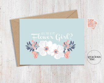 Flower Girl Card 'Will You Be My Flower Girl' - Wedding Card, Calligraphy - Aqua