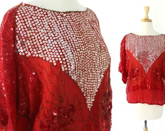 Vintage Sequin Blouse Red Silver NWT Deadstock