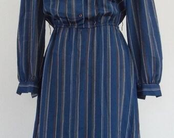 Vintage Blue Striped Long Sleeve Dress