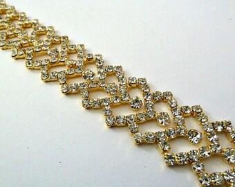 Rhinestone Bridal Headband ,Gold Bridal Headpiece ,Crystal Wedding Hairband