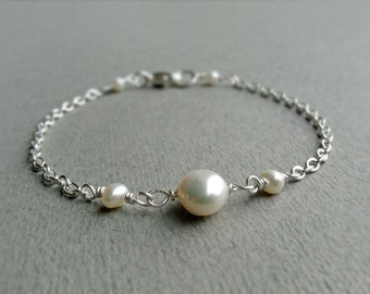 A-Grade Freshwater Pearl Sterling Silver Bracelet, Ivory White, Simple, Minimalist, June Birthstone, Wire Wrapped, Bride, Third Eye Chakra