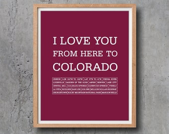 Colorado Art Prints and Posters Poster I love you from here to Colorado Digital print 8 x 10