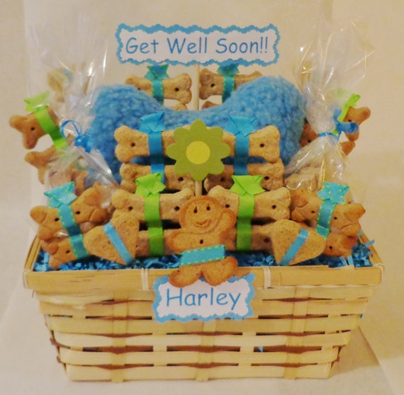 Get well dog biscuit treat dog gift basket with by for Unusual get well gifts