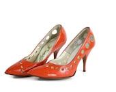 1960s Orange Shoes / Bright Orange Stilettos with Cutouts / 60s Patent Leather High Heel Pumps