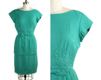 1960s Teal Cocktail Dress / 60s Dress / Teal Embroidered Scallop Layers Dress