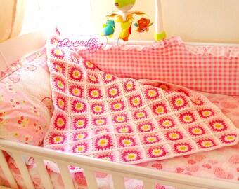 Crochet baby blanket, Crochet Daisy Blanket, Flower Blanket