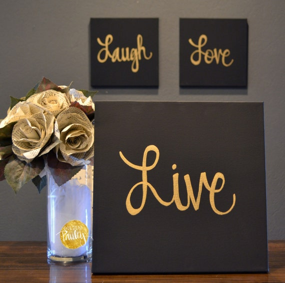live laugh love canvas wall art paintings 3 piece value pack. Black Bedroom Furniture Sets. Home Design Ideas