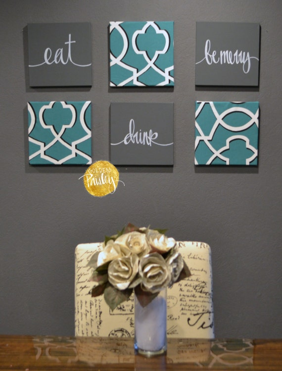 Eat Drink Be Merry Wall Art Pack Of 6 Canvas Hangings