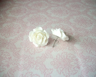 Handmade Large White Rose Earrings, Stud Post Rose Earrings // Bridesmaids Earrings