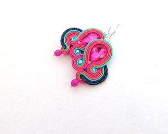 Pink Dangle Drop Earrings - Unique Soutache Earrings , Hot Pink Handmade Jewelry with Crystals