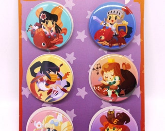 Heroes of Cute, cute anime girl pins, pinback buttons, anime girls, moe, anime lover, kawaii, chibi, cute chibi, anime pins, japan