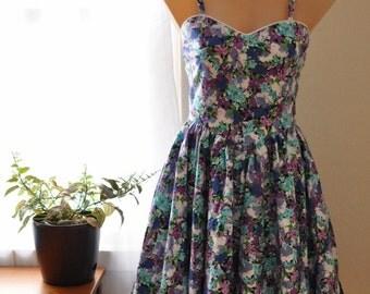 Vintage Cotton Floral Sun Dress 50s-style S