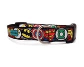 "Comic Hero Dog Collar | 3/4"" and 1"" Collar for Small to Extra Large Dogs"