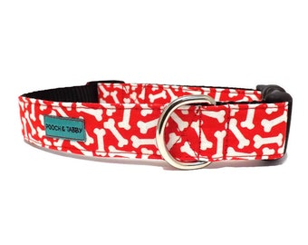 Scatter Bones - Red and White Bones Dog Collar | Available in 4 widths