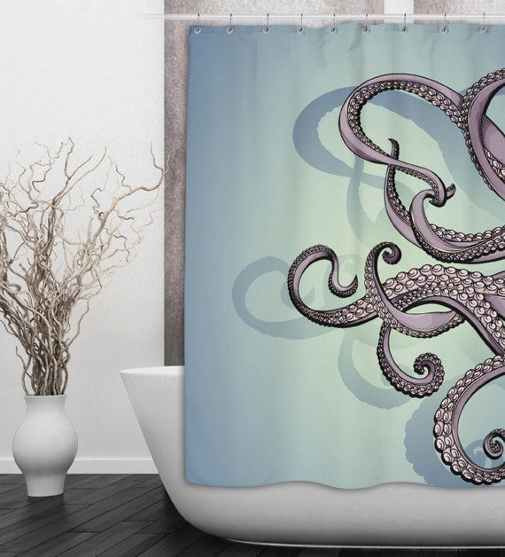 octopus tentacle shower curtain availabe in 2 sizes by