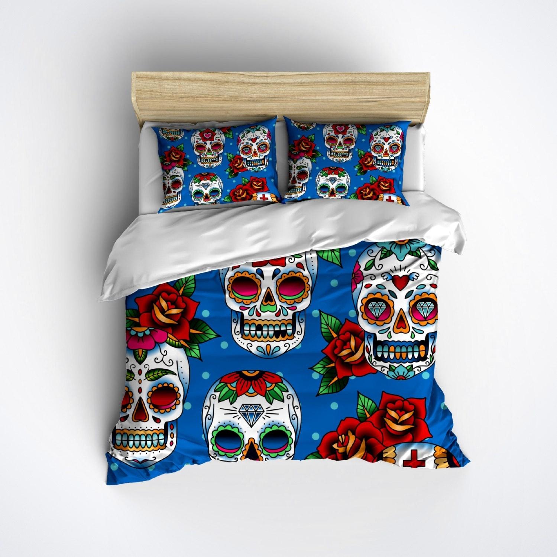 Fleece Blue Sugar Skull Bedding Sugar Skull Print by InkandRags