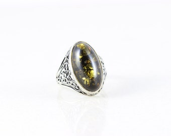 Sterling Silver Large Ring Dichroic Glass Filigree Ring Band size 10 1/2