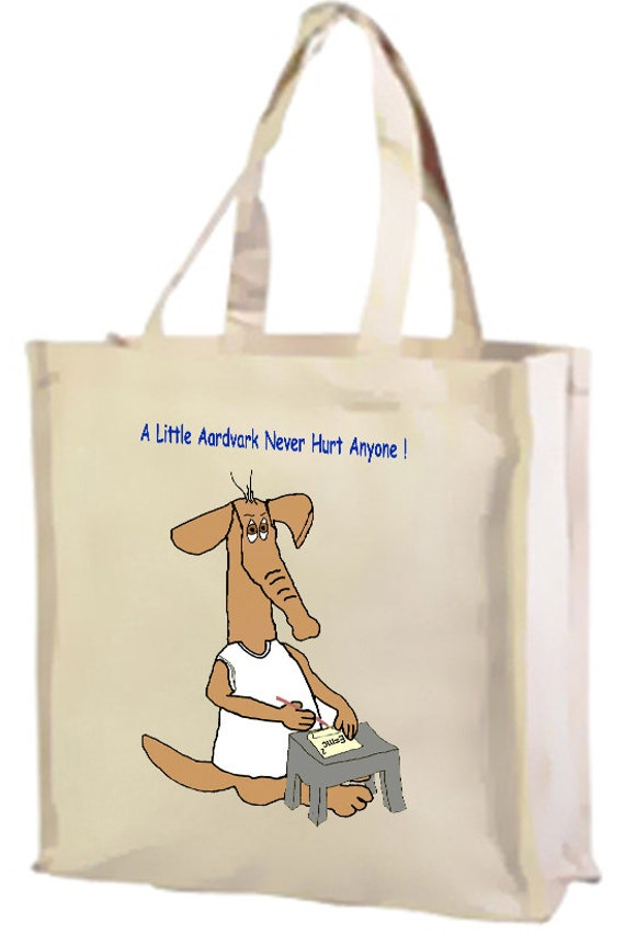 A  Little Aardvark Cotton Shopping Bag with gusset and long handles, 3 colour options