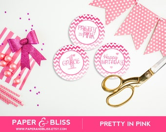 CUSTOM Pretty In Pink - Cupcake Toppers
