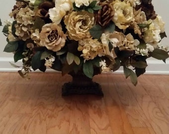 Extra Large Elegant Traditional Cream Beige Neutral Floral Arrangement  Dining Room Foyer Entry Table Centerpiece In