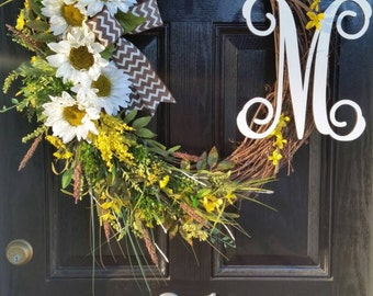 Extra Large Grapevine Wreath Sunflowers Personalized Monogram Initial Burlap Ribbon Spring Summer Mothers Day Wedding Year Round Door Decor