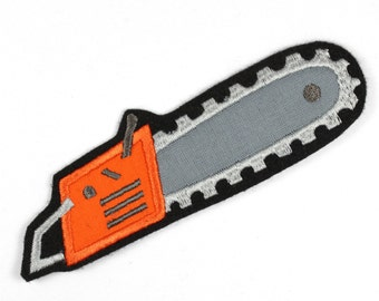 iron-on applique iron-on patches applique patch chainsaw 13,5 x 4cm / size inches 5.31 x 1.57