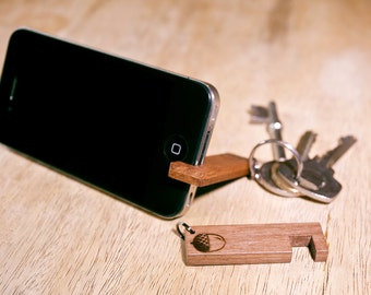 Wooden Smart Phone Stand Keyring