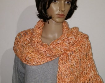 Crochet triangle shawl orange white