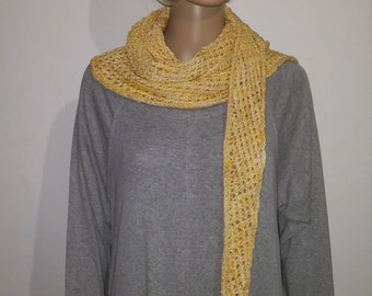 Tunisian crochet scarf in various shades of yellow