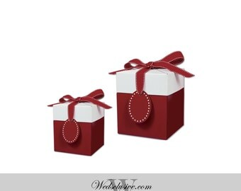 Red Favor Boxes , Gift Boxes - Set of 10