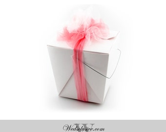 50 White Favor Boxes, Chinese Take Out Boxes, DIY Wedding Favors, Truffle and Candy Boxes