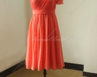 One shoulder coral knee length chiffon bridesmaid dress