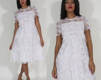 Vintage 70s White Scalloped Tiered Lace Midi Dress Jacket Hippie Party Wedding