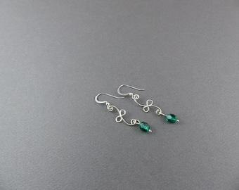 Wire Work Loopy Drop Earring Sterling Silver with Bead - Wire Work Classic Earring - Silver Swirl Earring - Handmade Wire Work Earrings