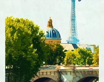 Paris print. Paris poster. Paris art. Paris decor. Paris travel poster. Paris illustration Eiffel tower poster. Tour Eiffel print.