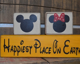 Happiest Place on Earth Disney Stacking Blocks Yellow