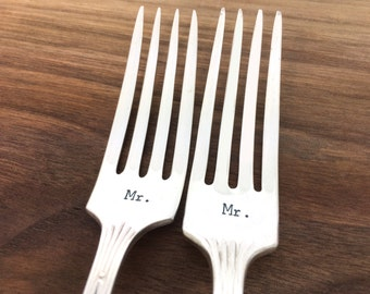 Gay wedding gift, mr mr forks, hand stamped forks, same sex wedding gift, gift under 30