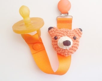 Fox Pacifier Clip, Fox Paci Clip, Ribbon Pacifier Clip, Paci Clip, Soothie Clip, Paci Holder, Fox Baby Gifts, Pacifier Holder
