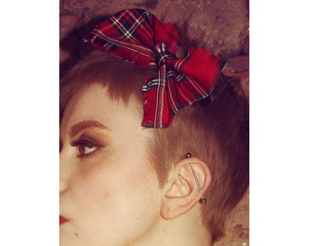Pretty Disturbia Tartan Punk Grunge Festival Bow Hair Clip