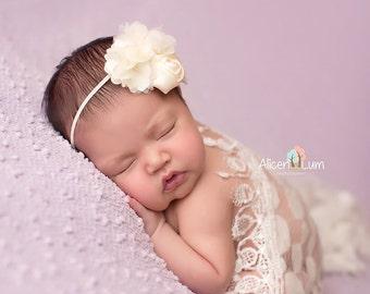 FLOWER HEADBAND, Ivory Headband, Ivory Flower, Headband, Newborn Headband, Baby Headband, Photo Prop, Photography Prop, Shabby Chic Headband