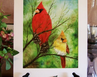 "Birds, Cardinals, wildlife Art Print 11""x14"""