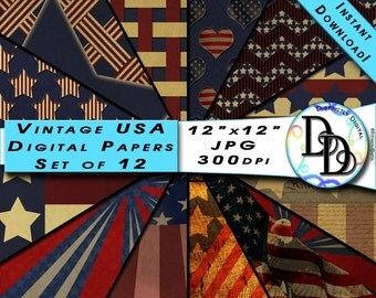 12 Vintage 4th of July American Patriotic Red White & Blue Printable Digital Scrapbook Paper Instant Download Clip Art Commercial Use PS0019
