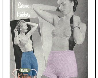 1940s  WW2 Service Panties and Bloomers Knitting Pattern - PDF Pattern - Instant Download