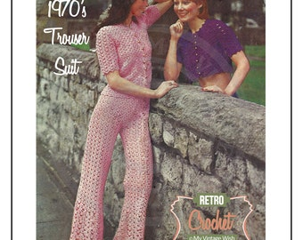 1970's Crochet Trouser Suit Pattern – PDF Instant Download