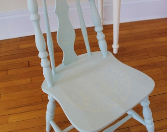 Painted Wood Chair, Vintage Chair, Pale Blue,Stenciled Wooden Chair, Accent Chair, Painted Furniture, Shabby Chic, Blue Chair
