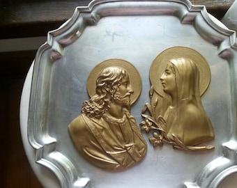 Jesus  Mary bas relief art vintage